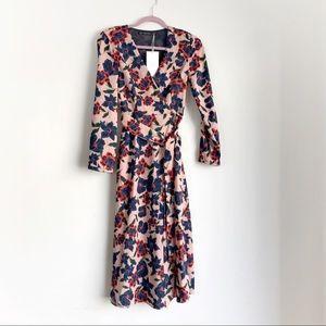Zara • Pink Floral Midi Long Sleeve Wrap Dress